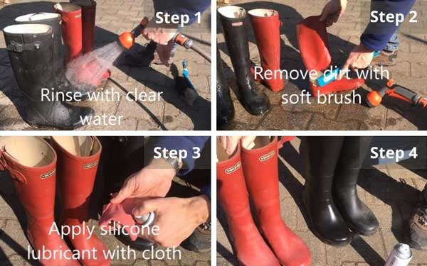 Taking care of rubber boot
